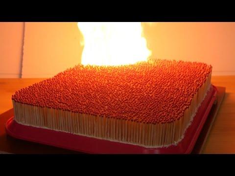 4000本のマッチを一気に燃やすと!?