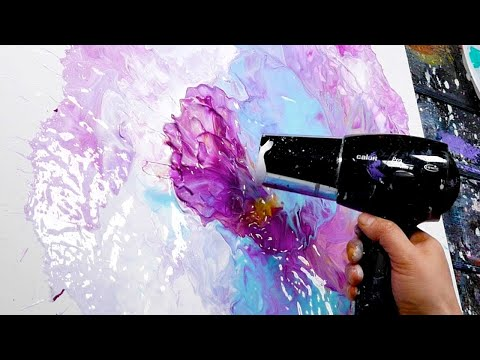 Acrylic Pour Abstract Painting with Posca Marker   Nyx