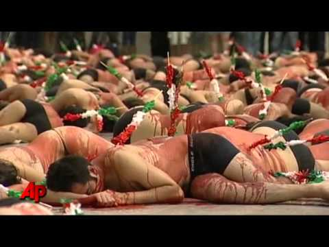 Raw Video: 'Bloody' Protest for Bullfighting Ban