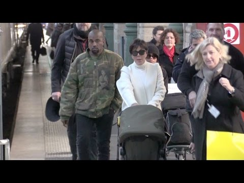 EXCLUSIVE - Kanye West, his daughter North and mother in law Kris Jenner arriving in Paris