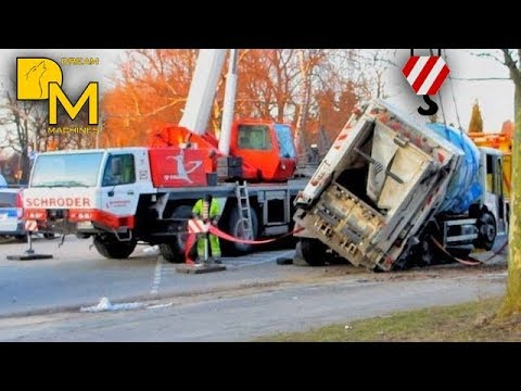 EXTREME CRASH GARBAGE TRUCK FLIPPED OVER recovery with crane