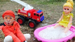 Dump Truck, Excavator & Fire Truck with Baby Bathing Soap by Dave Mario and brother