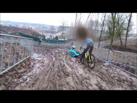 WK-Parcours verkenning en de val van Wout van Aert via GoPro vanop de fiets van Merlier