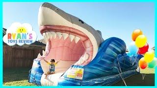GIANT INFLATABLE SHARK WATER SLIDE FOR KIDS
