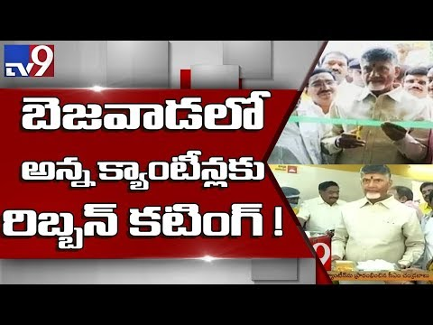 CM Chandrababu inaugurates 100 Anna canteens in Vijayawada - TV9