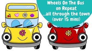 Wheels On The Bus … all through the town on Repeat & Loop | Best Nursery Rhymes