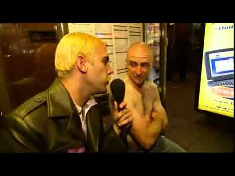 Bruno/Steffan (Borat/Ali G/ Sacha Baron Cohen) interviews skinhead outside of evil fest in London