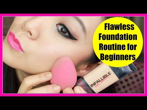 Drugstore Flawless Foundation Routine   Makeup for Beginners #1