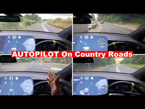 Close Calls On UK Countryside Roads - Tesla Navigate On Autopilot Test 2019.20.4.1