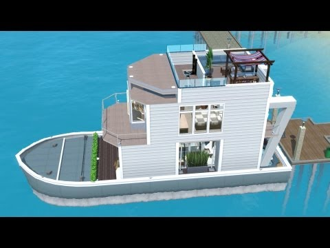 The Sims 3 House Boat building | SS Paradiso (Including dock)