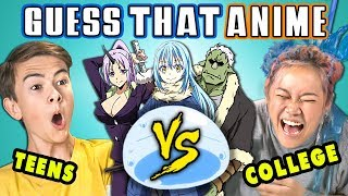 GUESS THAT ANIME CHALLENGE   Teens Vs. College Kids (React)