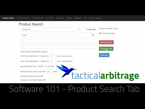 Tactical Arbitrage Online Arbitrage Software 101 - Product Source Tab