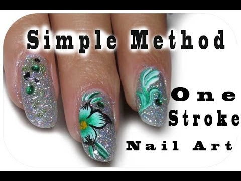 Simple Way To Make One Stroke Nail Art.Green Flower Design. Holographic Shiny Nails