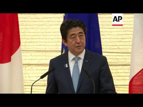 President Hollande meets PM Abe for talks, excerpts of news conference