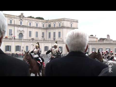 Roma - Mattarella al cambio della Guardia d'Onore in forma Solenne   (17.03.15)