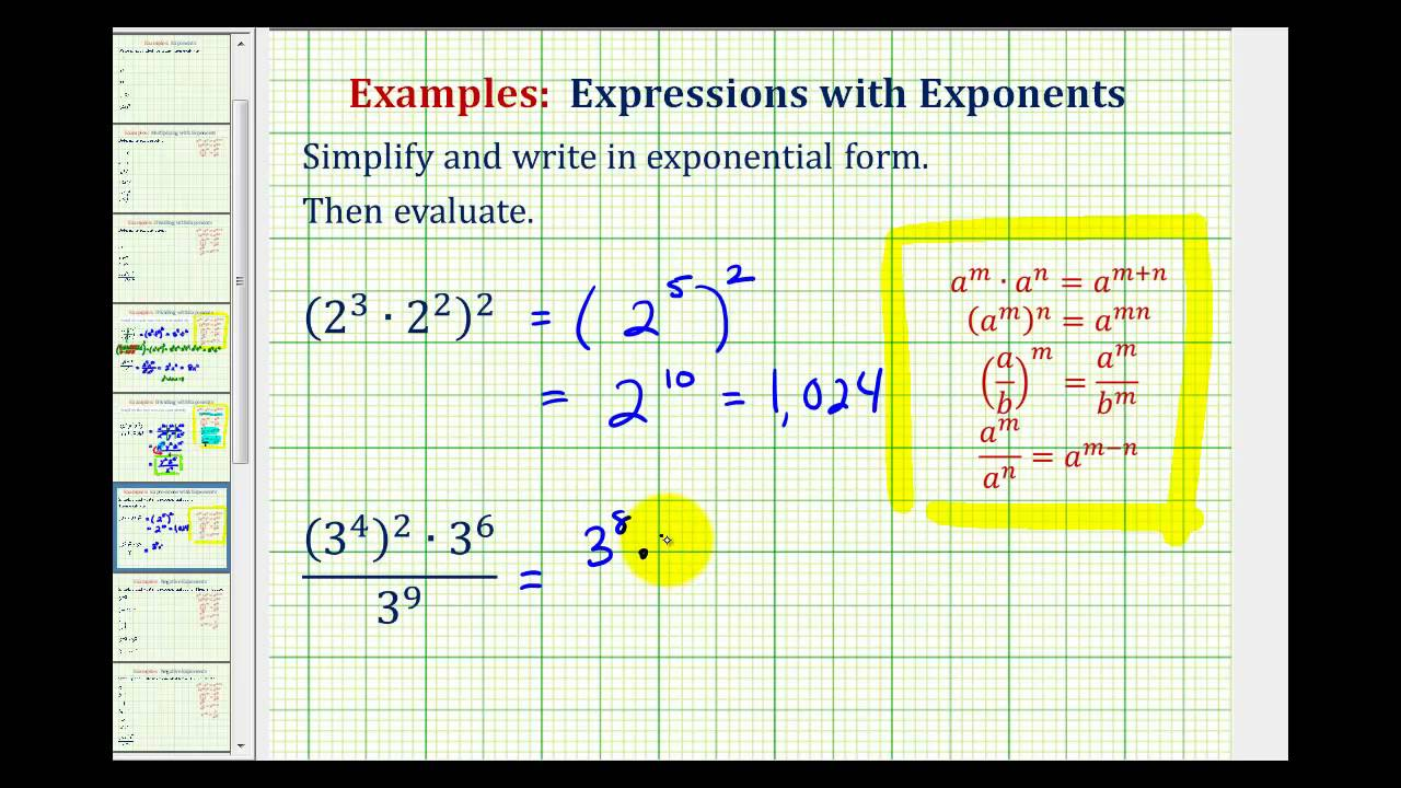 ex 1  simplify exponential expressions