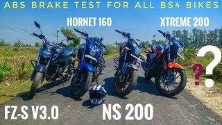 ABS Brake Test ll Hornet 160r vs Xtreme 200 vs FZ-S v3.0 vs NS200 ll Contai RiderZ