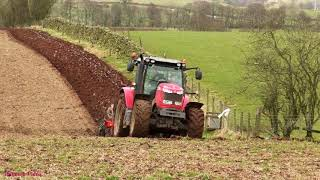 Ploughing with MF 7616 and Four Furrow Kverneland