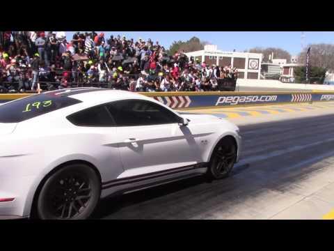Ford mustang Gt coyote supercargado marcando tiempos drag wars centro dinamico pegaso