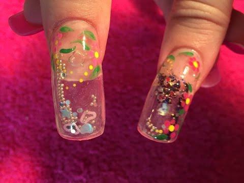 Acrylic Nails how to aquarium nail