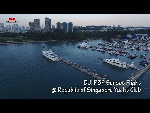 DJI Phantom 3 Professional Sunset by the sea Republic of Singapore Yacht Club Aerial Videography