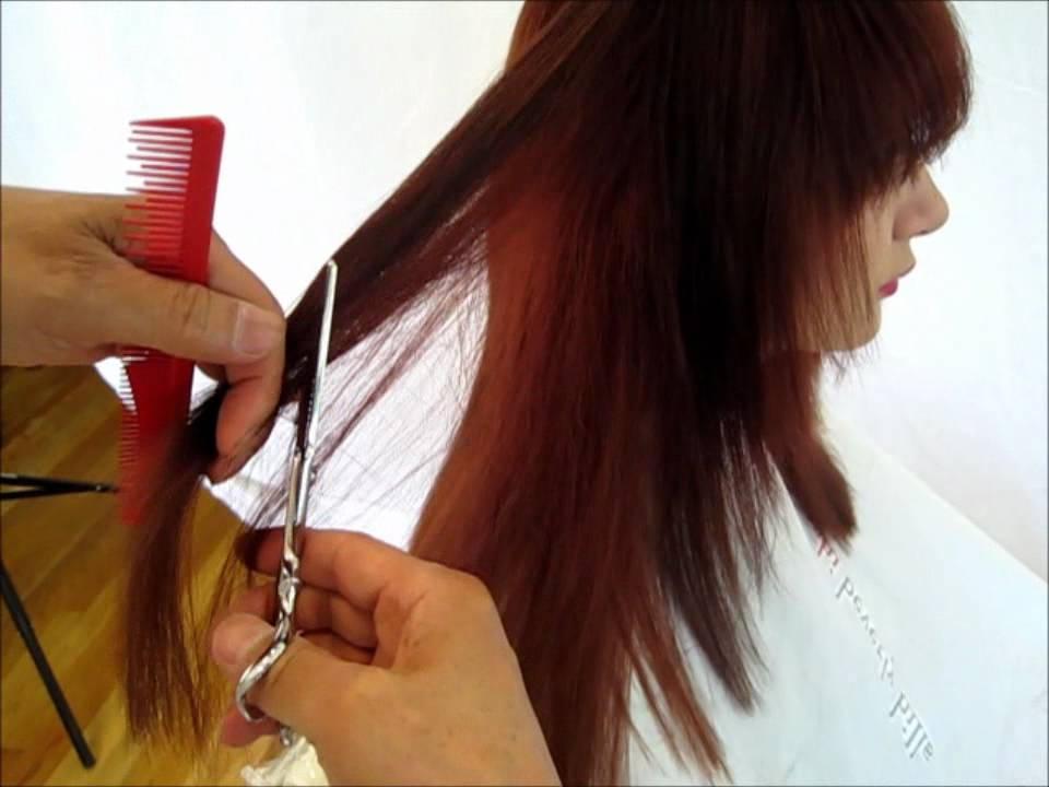 How to cut hair - long hair cut inside out step by step #2 tutorial ...