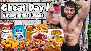 RELAXED CHEAT DAY with PEANUT BUTTER OVERLOAD DESSERT (EPIC CHEAT MEAL)