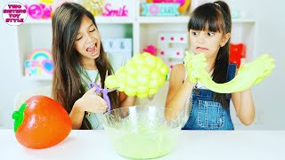 WE CUT OUR GIANT SQUISHY AND MADE IT INTO SLIME