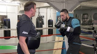 Joseph Parker goes through pad work with Kevin Barry as he prepares to fight Alexander Flores