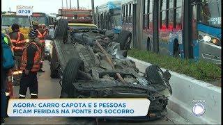 Carro capota e deixa cinco feridos na ponte do Socorro, em SP