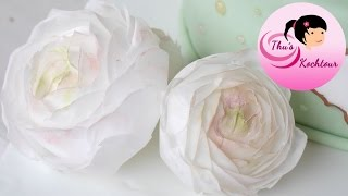 [ENG SUB] How to make buttercup flowers with wafer paper/ Ranunkel-Tutorial aus Esspapier