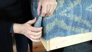 Mod Home Ec 5 Minute Clinic: How to Cut the Corners on a Rug Upholstered Ottoman