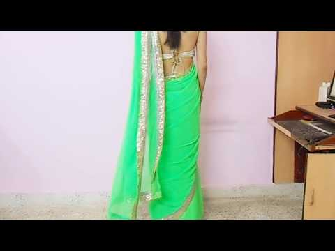 How To Wear Backless Sari Blouse-how To Wrap Backless Saree Blouse saree Draping Tutorial video