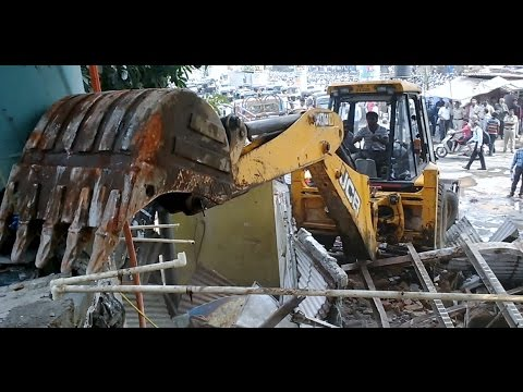 MBMC Municipality Demolishing Illegal Shops In Mumbai India 2015 [HD VIDEO]