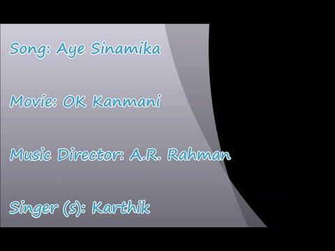 Aye Sinamika - Ok Kanmani -  Arr-  Male - Karaoke Tamil Song | Hq Hd | video