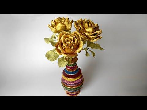 Оригинальная ваза из глиттерного фоамирана