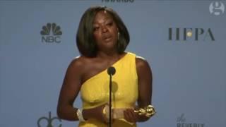Viola Davis makes powerful anti-Trump speech backstage at Golden Globes – video