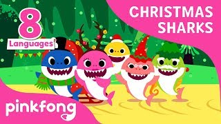 Christmas Sharks in 8 languages | Baby Shark | Christmas Songs | Pinkfong Songs for Children