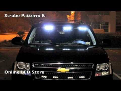 54 LED Front Headliner Emergency Strobe POV Lights -Amber & White