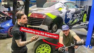 REBUILDING MY WRECKED AUDI R8 SUPERCAR! *OVERNIGHT PARTS GERMANY*