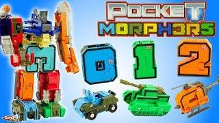 Apprends les chiffres avec les Pocket Morphers Jouet Transformable Robot Mega Botz Learn Numbers