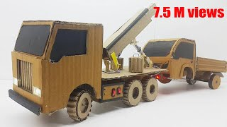 how to make towing truck / electric truck with cardboard