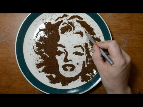 Download drawing with coffee grounds marilyn monroe food for Painting with coffee grounds