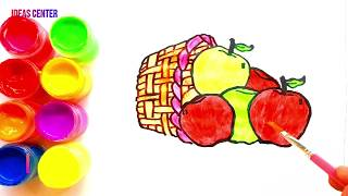 Learn Coloring and drawing Apple Basket for kids | Painting for Toddlers and Drawing for Kids #1