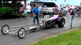Front Engine Dragster doing Water Burnout