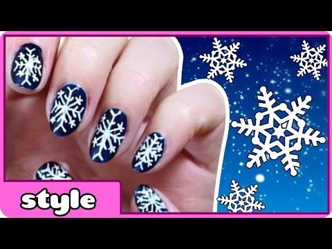 DIY Snowflake Nail Art | Winter Snowflake Nails (Tutorial) | Cute and Easy Nail Art Designs