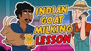 Indian Man Gives Goat Milking Lesson (ANIMATED)