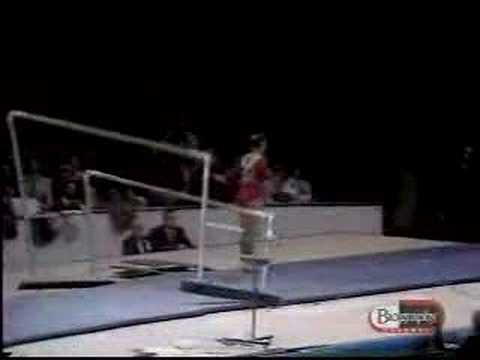 Ludmilla Tourischeva USSR 1975 World Cup - uneven bars The great Tourischeva. She dismounts and the bars collapse!