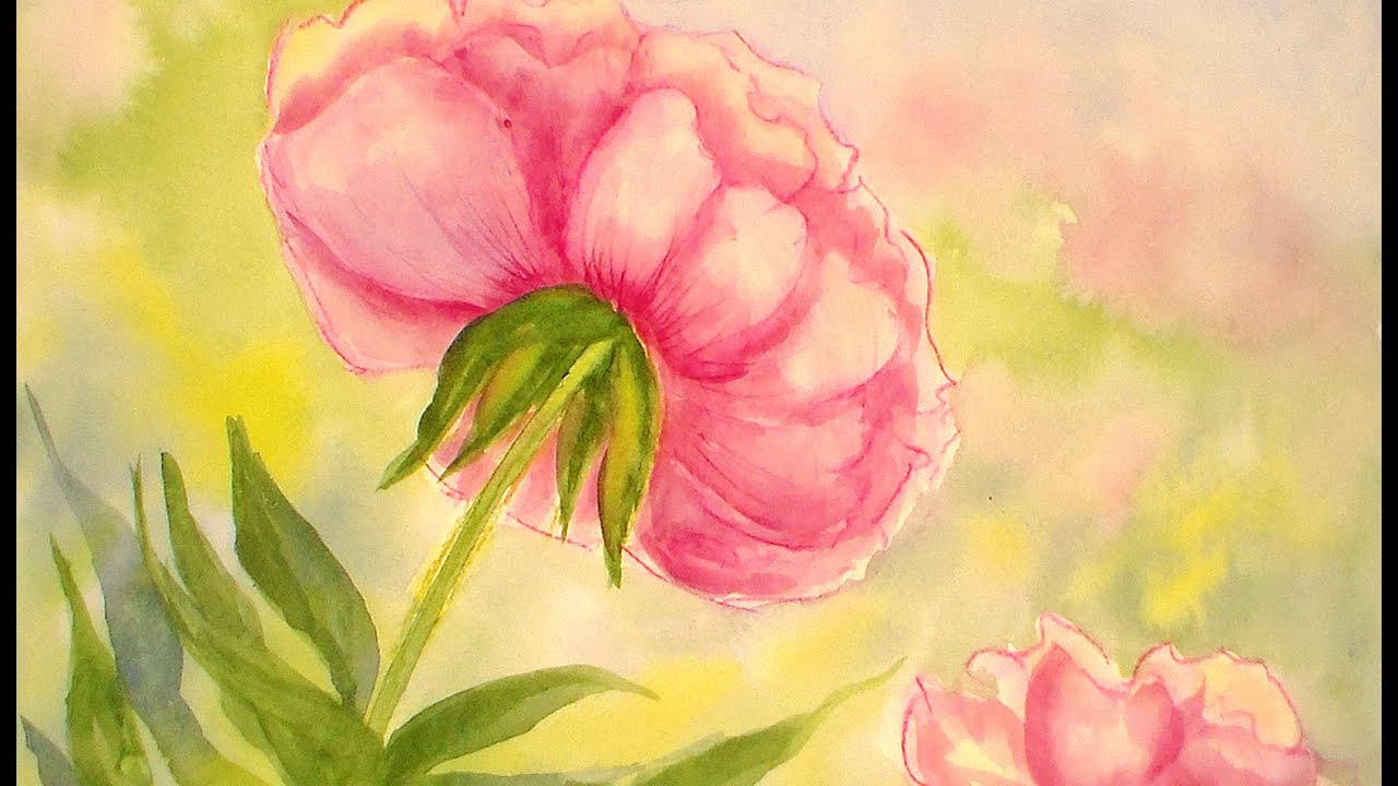 How to paint a peony flower in watercolors easy tutorial for Easy way to paint flowers