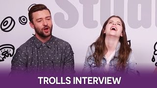 Anna Kendrick & Justin Timberlake geek out over Gwen Stefani | Trolls Interview